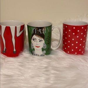 Kate Spade set of three coffee mugs